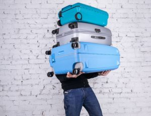 moving with suitcases